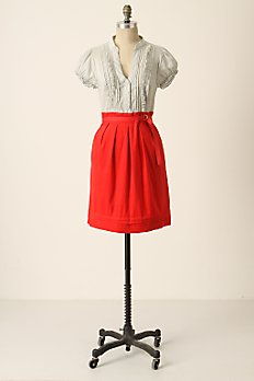 anthropologie red and white dress